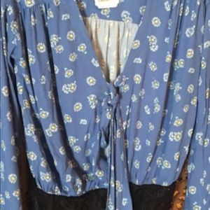 Free People Tops - Boho Body Suit by Free People Blue w/ Daisies NEW